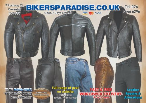 Bikers Paradise, motorcycle clothing, leather, textile, repairs,