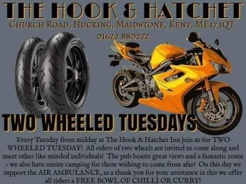 Hook and Hatchet Inn, Two Wheeled Tuesday, Biker Friendly pub, Maidstone, K