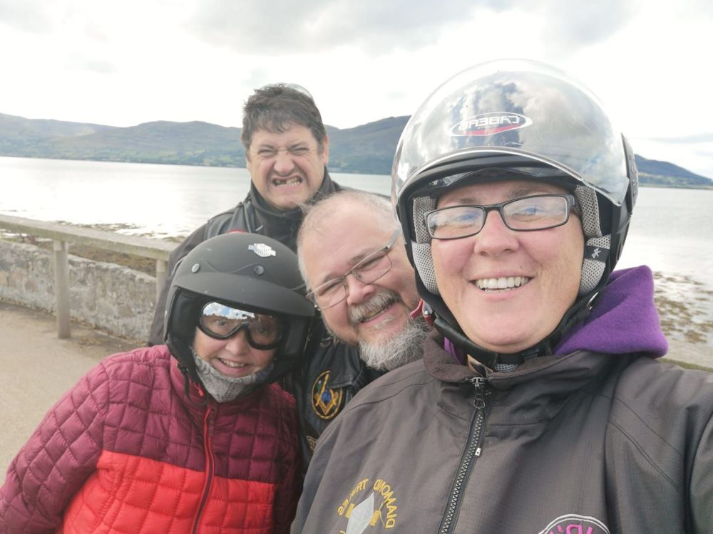 Janice Park, Derek Winter, Crasher Gus, Alison Winter on the coast road out