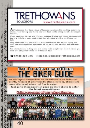 THE BIKER GUIDE - 8th edition, Motorcycle Accident Solicitors