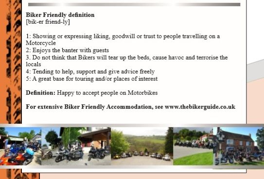 Biker Friendly Accommodation - definition
