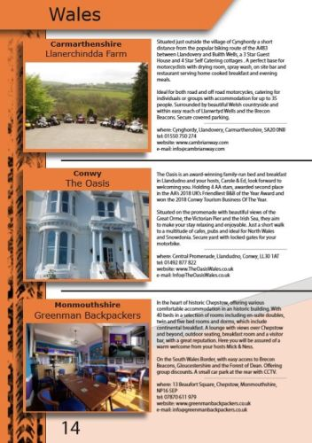 THE BIKER GUIDE - 8th edition, Biker Friendly Accommodation, Wales