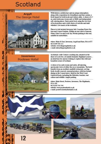 THE BIKER GUIDE - 8th edition, Biker Friendly Accommodation, Scotland