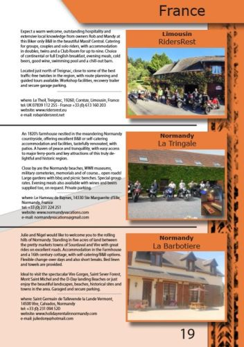 THE BIKER GUIDE - 8th edition, Biker Friendly Accommodation, France