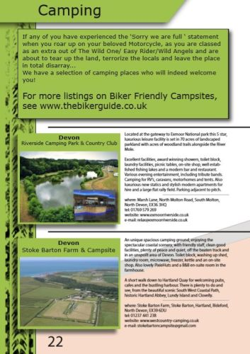 THE BIKER GUIDE - 8th edition, Biker Friendly Camping