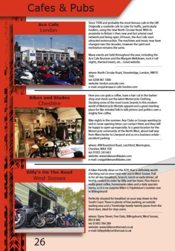 THE BIKER GUIDE - 8th edition, Biker Friendly Cafes Pubs
