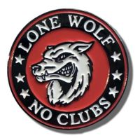 Lone Wolf No Clubs Pin Badge, Secure Locking Back, Patchers