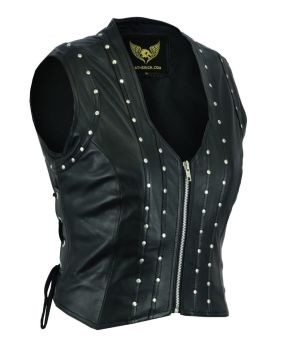 Black Ladies Genuine leather biker Waistcoat, Gilet sleeveless retro