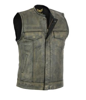 Leatherick, Biker Leather Waistcoats, Vintage, style