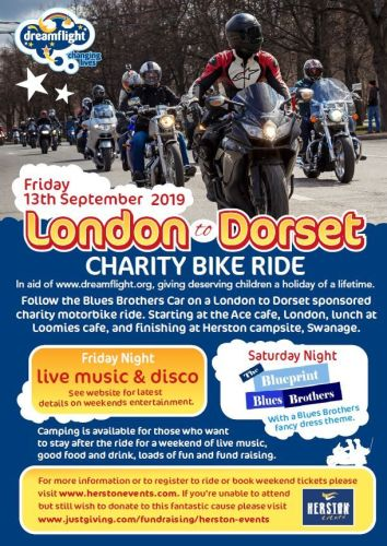 Dreamflight to Dorset, Charity motorbike ride, Ace Cafe London to Dorset, s