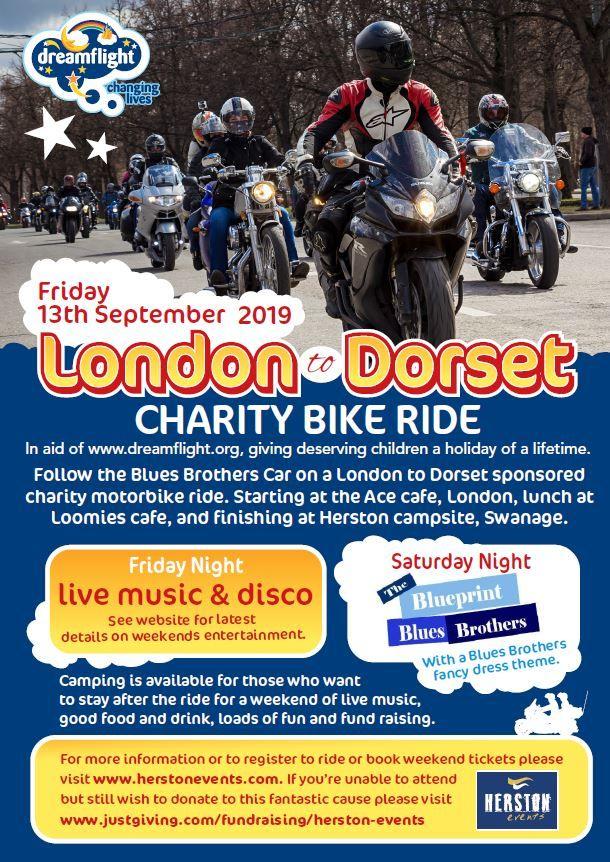 Dreamflight to Dorset, Charity motorbike ride, Ace Cafe London to Dorset, s