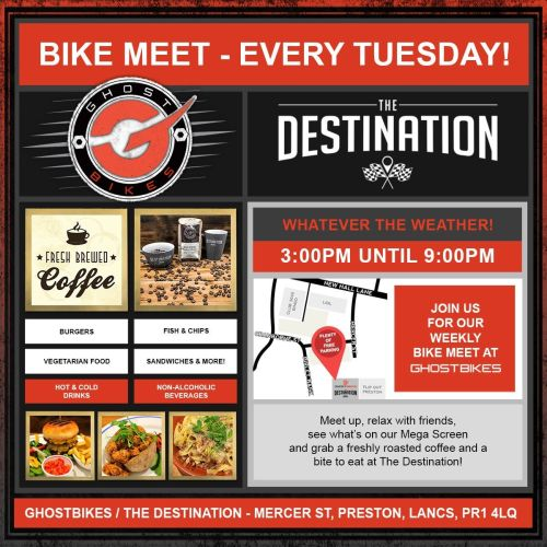 GhostBikes, Bike meet, Preston, Lancashire. Tuesday Bike meet, 3 - 9pm, all