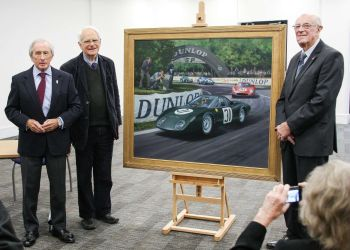 Sir Jackie Stewart unveils new BRM-Rover painting at the British Motor Muse