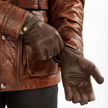 Woodland Leathers, Brown Jacket, gloves,
