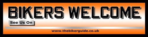 BIKERS WELCOME pvc banner + free sticker - Special offer - See us on...