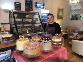 The March Hare Tearooms, Bikers Welcome, Corby Glen, Lincolnshire, cake