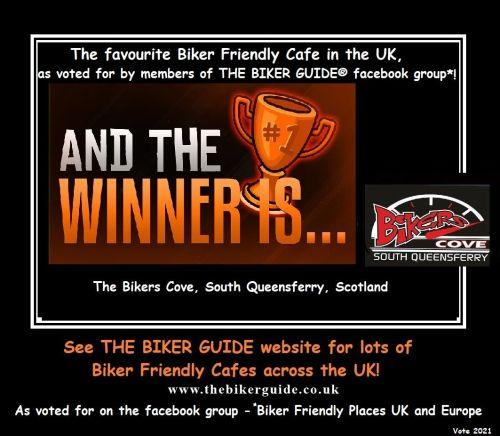 Biker Friendly Cafe in the UK - The winner is - 2021