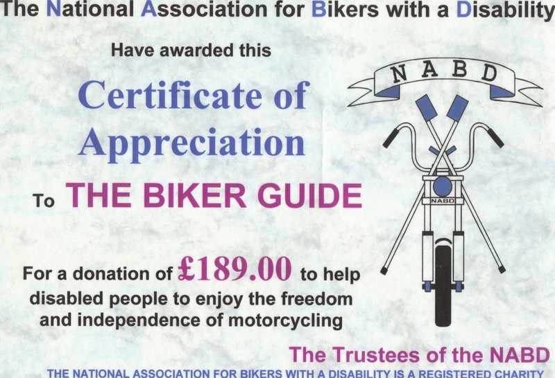 NABD donation from THE BIKER GUIDE 2011