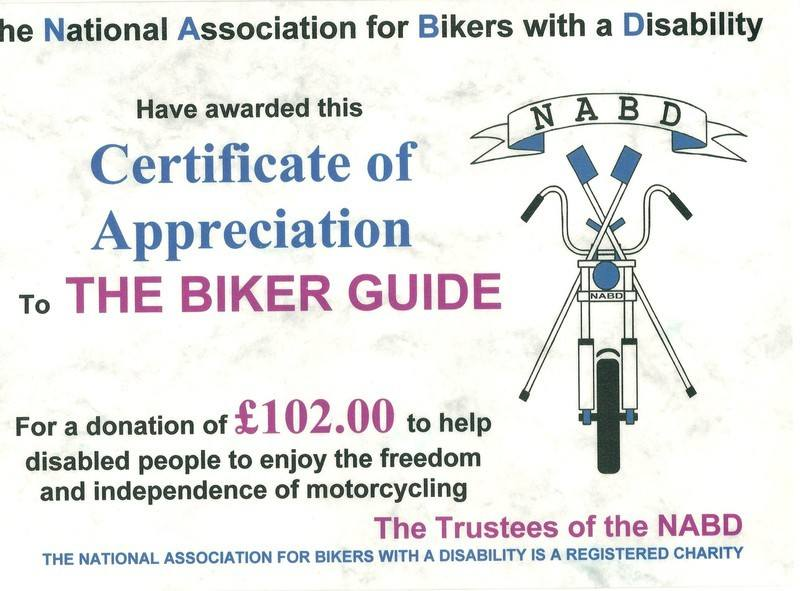 Donation to NABD 2012 - THE BIKER GUIDE
