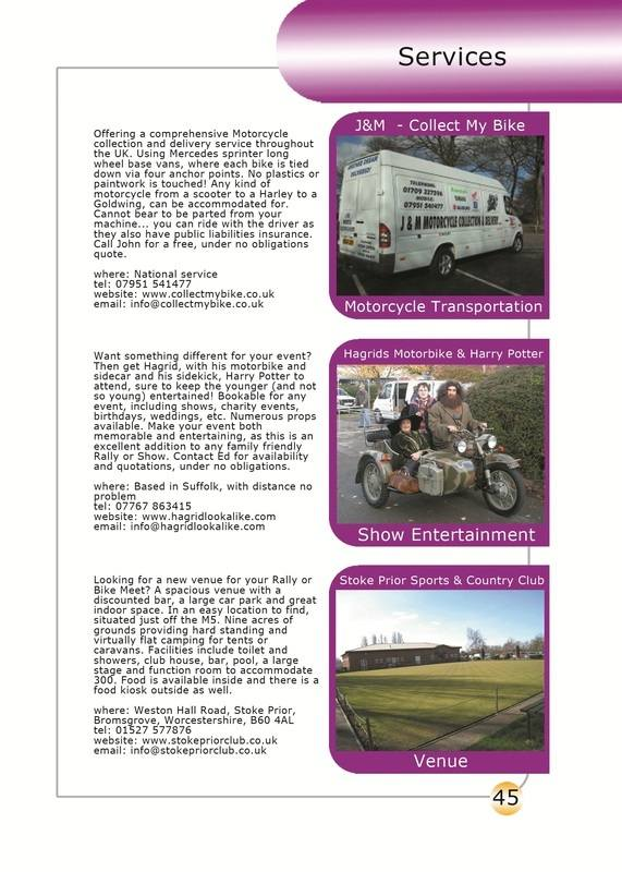 THE BIKER GUIDE - 2nd edition, booklet sample pages. services