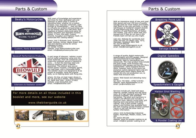 THE BIKER GUIDE - 2nd edition, booklet sample pages, parts