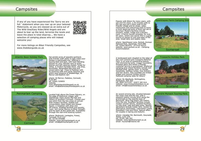 THE BIKER GUIDE - 2nd edition, booklet sample pages, campsites