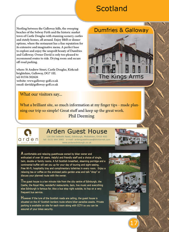 THE BIKER GUIDE - 3rd edition, booklet sample pages, Accommodation, Scotlan