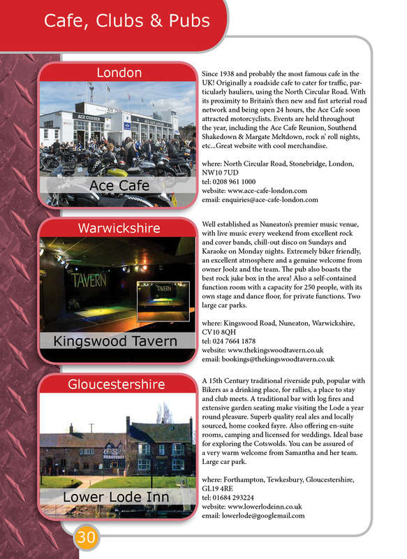 THE BIKER GUIDE - 3rd edition, booklet sample pages, cafes, pubs