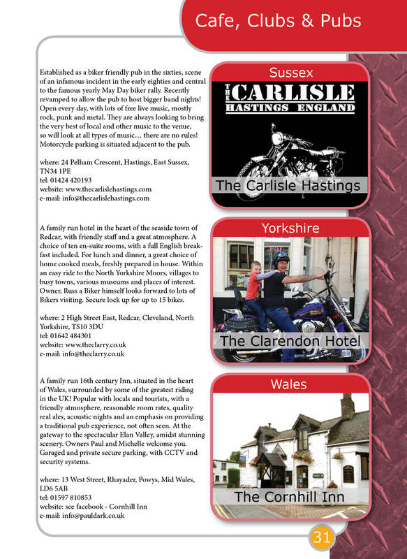 THE BIKER GUIDE - 3rd edition, booklet sample pages, pubs, meets