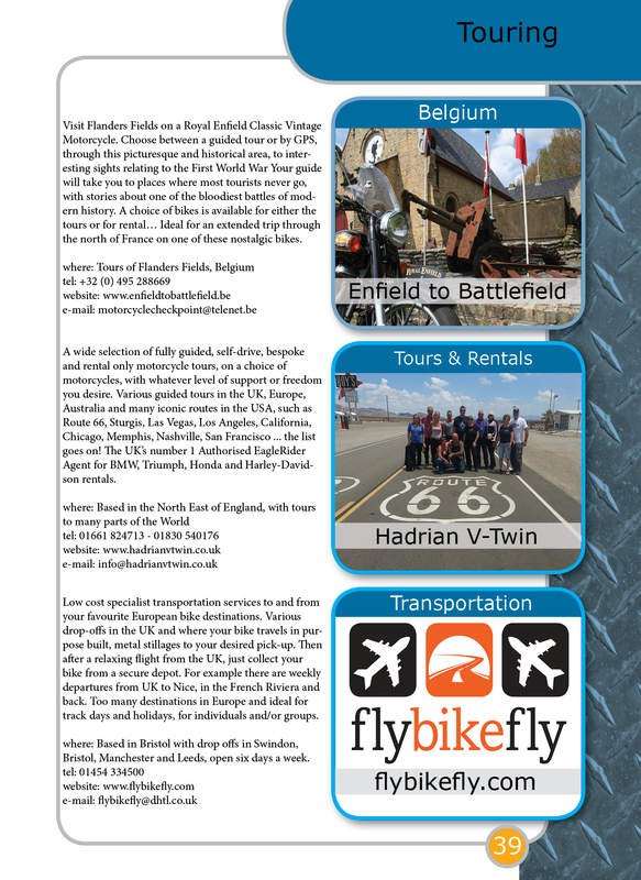 THE BIKER GUIDE - 3rd edition, booklet sample pages, touring, travel