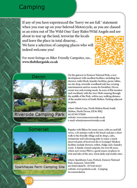 THE BIKER GUIDE - 3rd edition, booklet sample pages, campsites