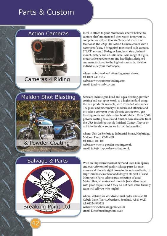 THE BIKER GUIDE - 3rd edition, booklet sample pages, parts, custom