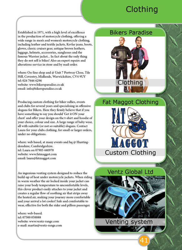 THE BIKER GUIDE - 3rd edition, booklet sample pages, clothing