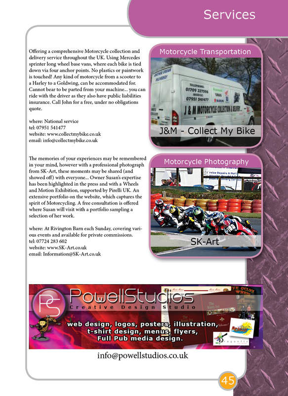 THE BIKER GUIDE - 3rd edition, booklet sample pages, Services