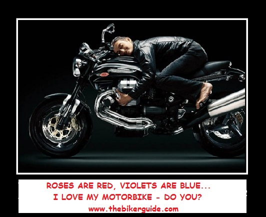 Roses are red, violets are blue, I love my motorbike, do you?