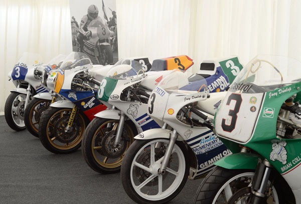 JOEY DUNLOP BIKES ASSEMBLED TO PAY TRIBUTE TO YER MAUN AT THIS YEARS CLA