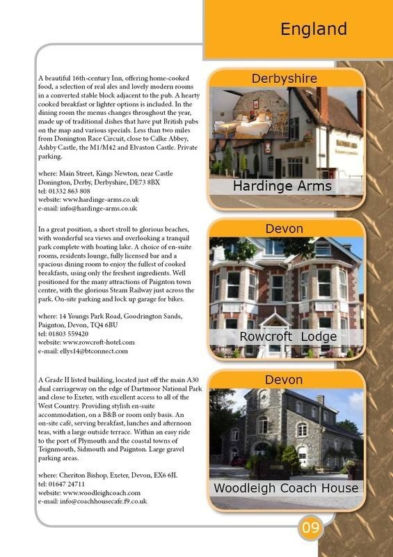 THE BIKER GUIDE - 4th edition, sample page, Accommodation, England