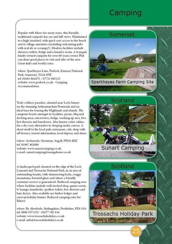 THE BIKER GUIDE - 4th edition, sample page, Campsites, UK