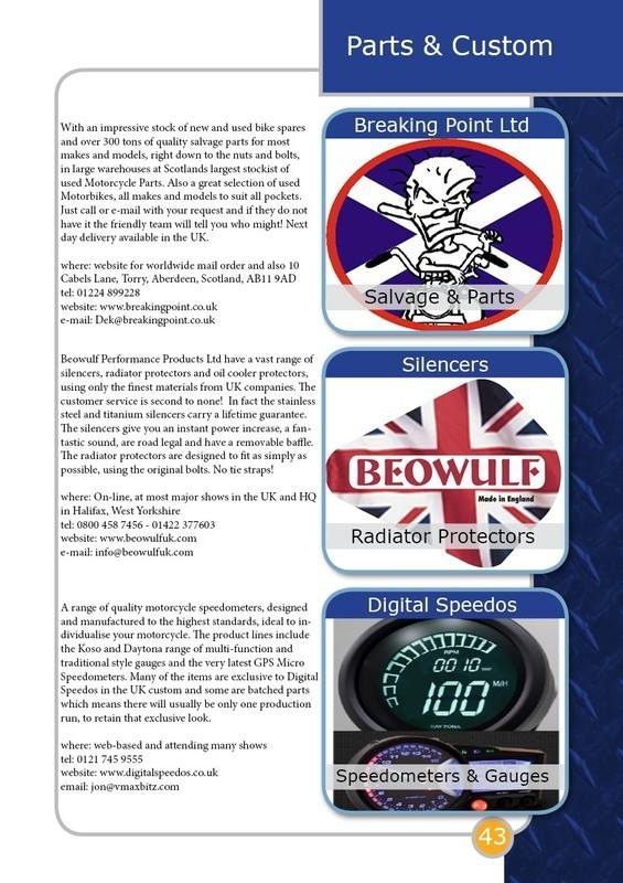 THE BIKER GUIDE - 4th edition, sample page, parts, Custom