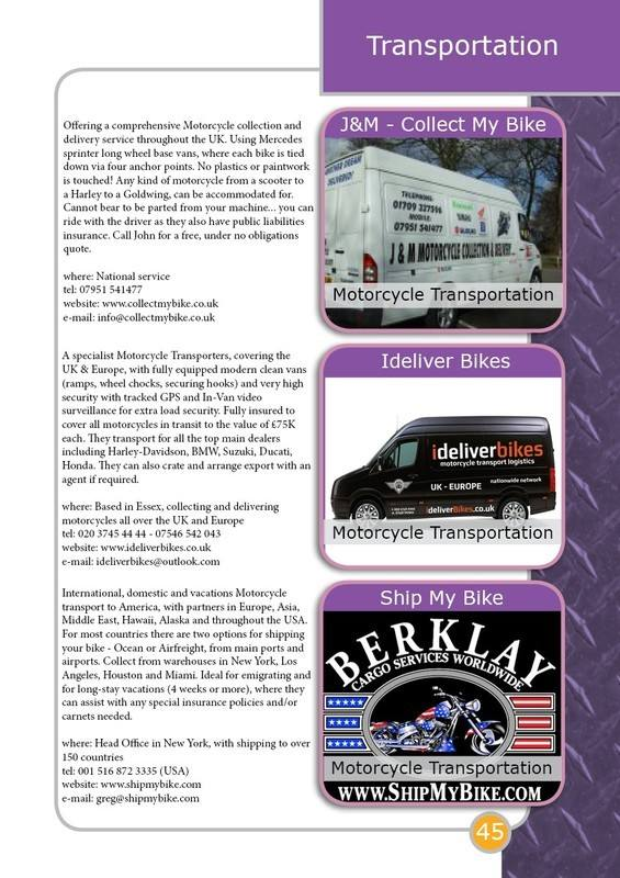THE BIKER GUIDE - 4th edition, sample page, transportation