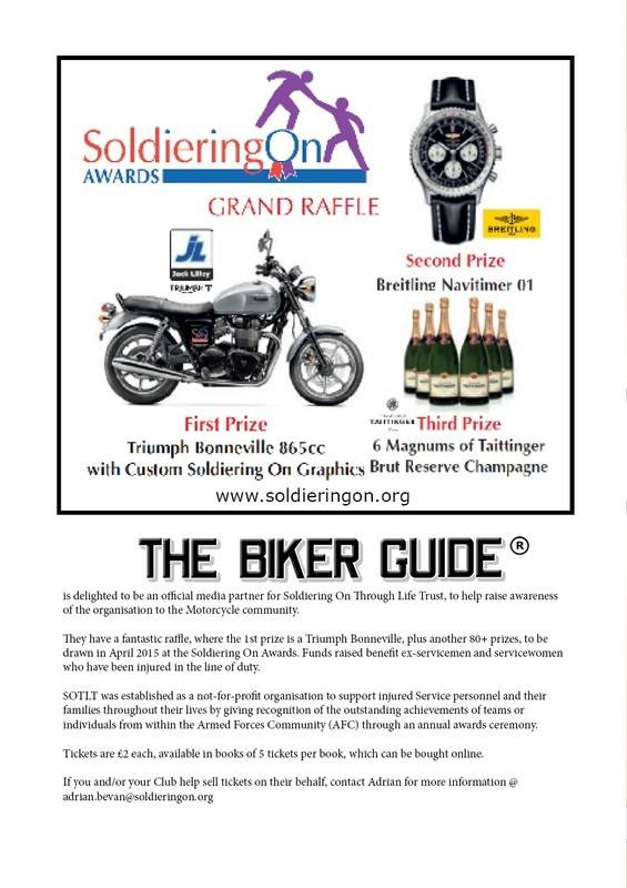 THE BIKER GUIDE - 4th edition, Media partner of Soldiering On Through Life