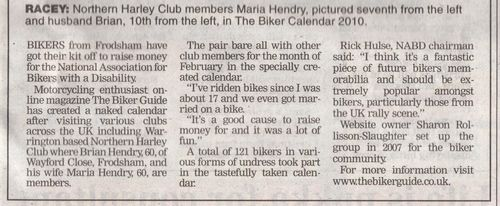 Maria & Brian Hendry, Frodsham,Chester Chronicle, BIKER CALENDAR,