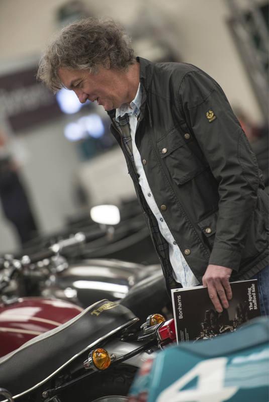 BBC Top Gear stars selling their bikes at Stafford showþ, James May at Bonh
