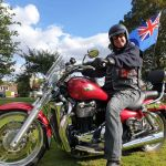 James Filby, on his Triumph Thunderbird at the first ever Oakham armed forc