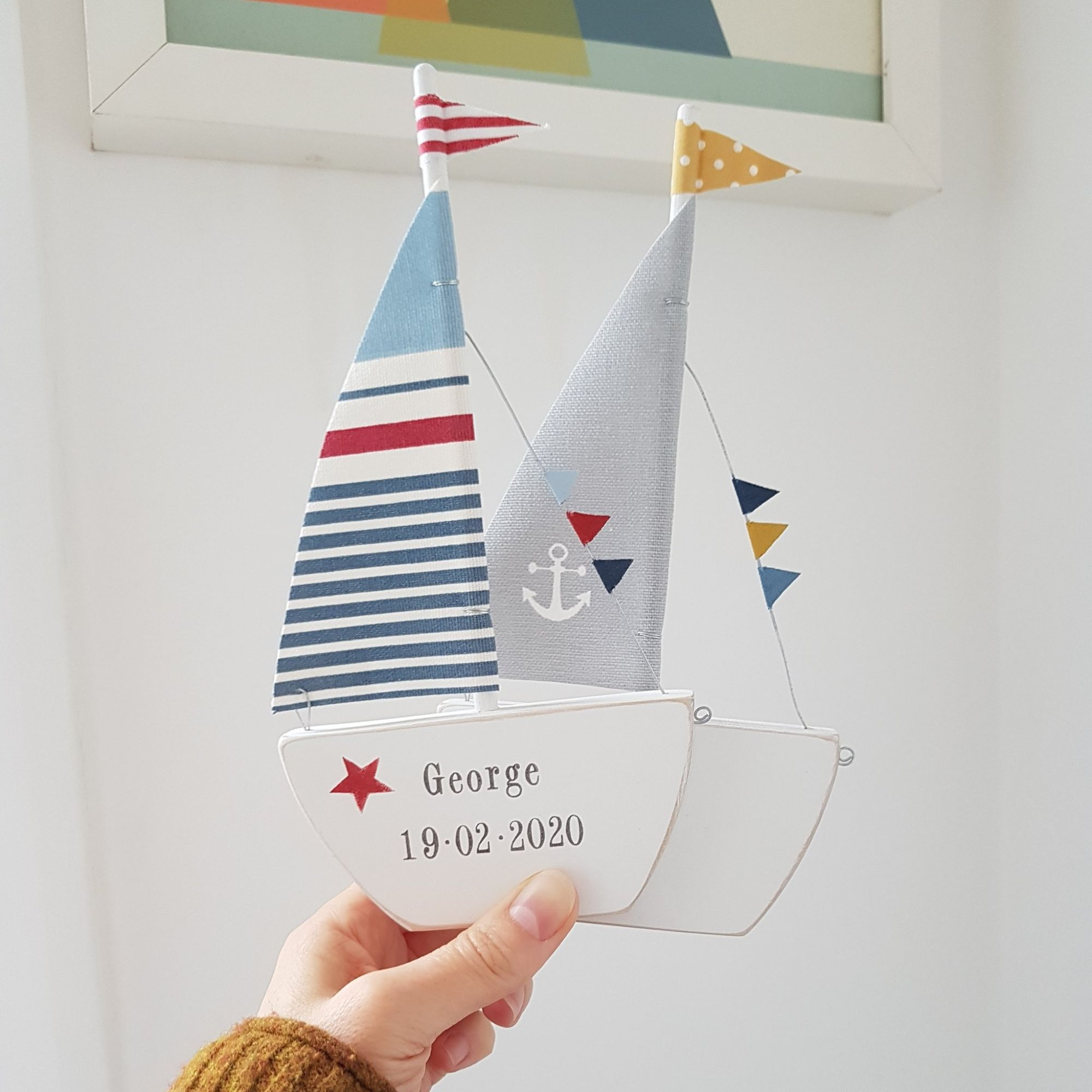 Blue and red stripe personalised sailing boat