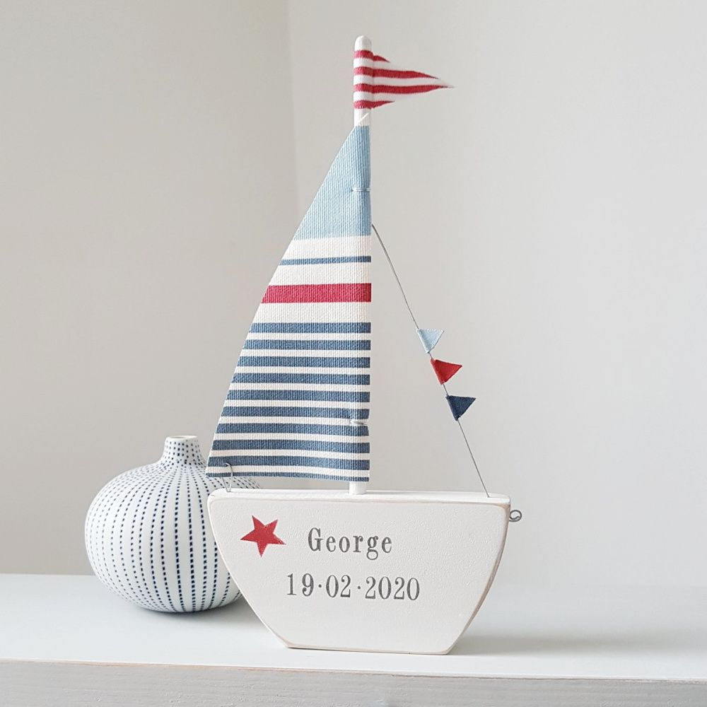 Personalised blue and red Sailing Boat