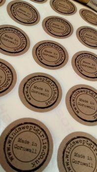 35mm kraft printed stickers