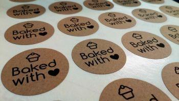 35mm 'Baked with love' Kraft Sticker