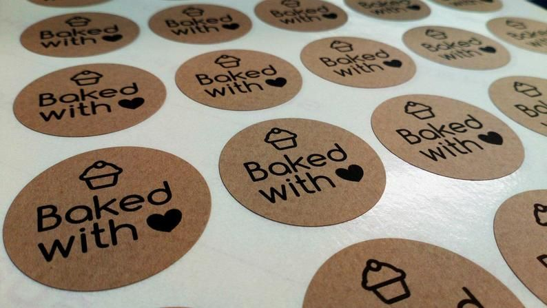 35mm 'Baked with love' Kraft Sticker
