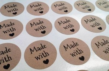 35mm 'Made with love' Kraft Sticker